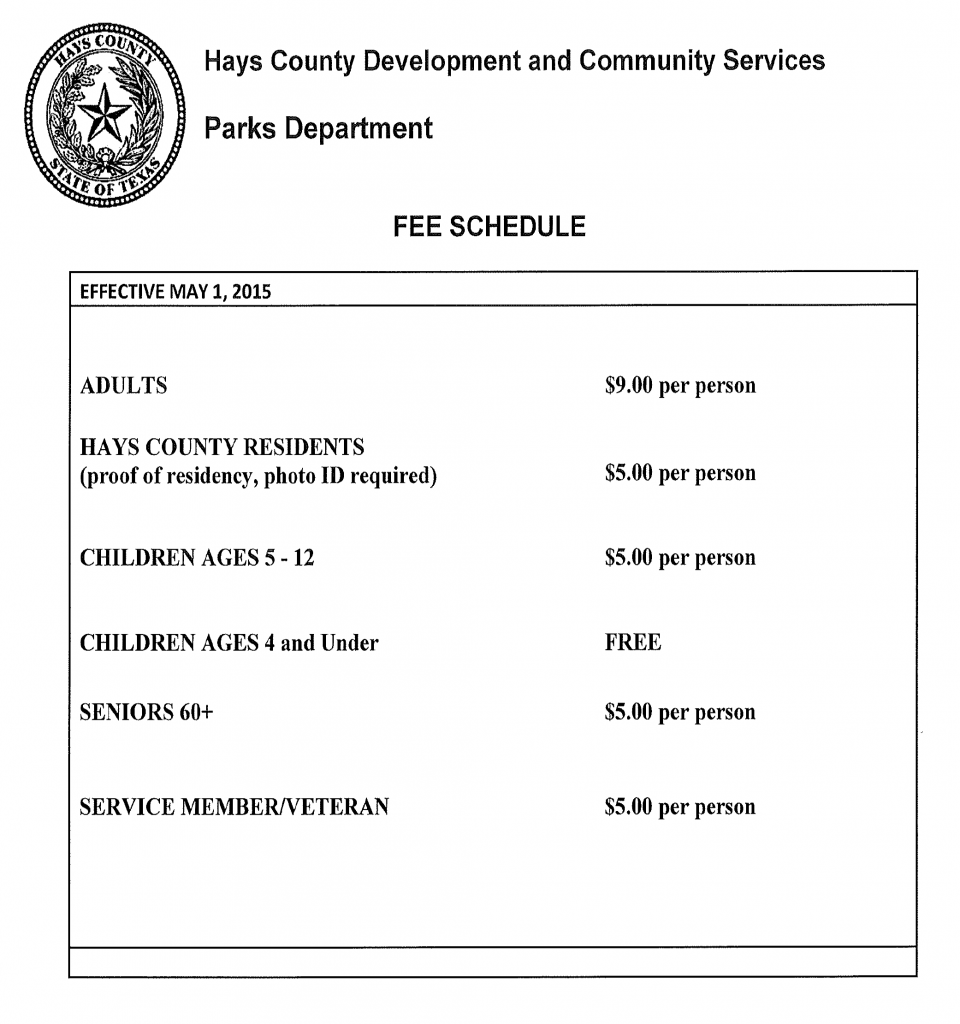 Parks and Rec Fee Schedule
