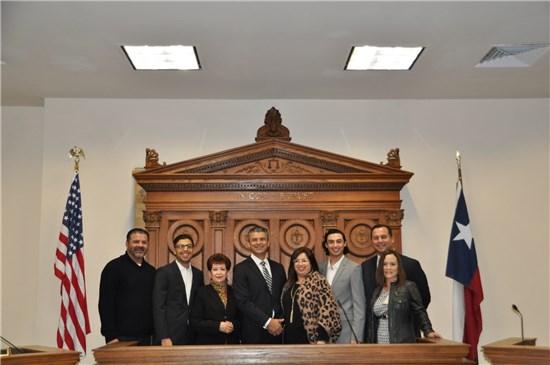 Left to right, Judge Becerra's brother Joe, son Ruben Jr., mother Grace Becerra, newly sworn-in County Judge Ruben Becerra, son Cristian, Chief of Staff Alex Villalobos, and Executive Assistant Anita Collins.