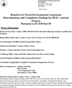 Signed Checklist DRAFT Hays County Flood Part-58-Tiered-EA08069